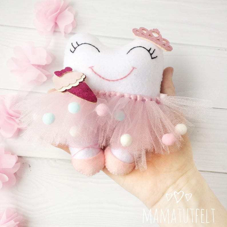 Tooth fairy pillow Personalized tooth fairy pillow Tooth Keeper dentist gift Stuffed Tooth fairy pillow Tutu Tooth Fairy Pillow