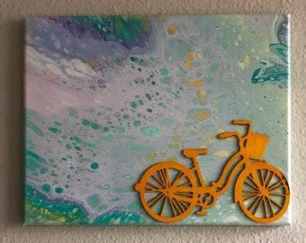11 x 14 Original «vélo printemps» l'Art abstrait