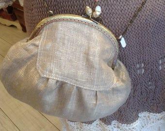Gold linen pouch bag