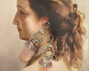 Pink and lilac style chalcedony earrings Victorian