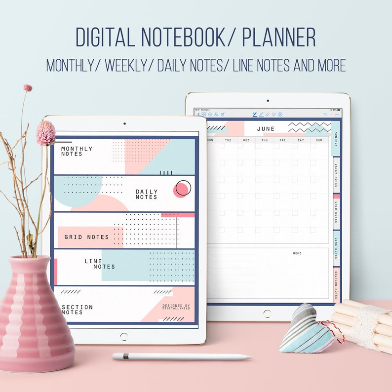 photo about Daily Planner Notebook named Electronic planner Laptop computer Grid Coated laptop Undated Every month Weekly Everyday planner College student Instructor planner Minimalist planner Goodnotes