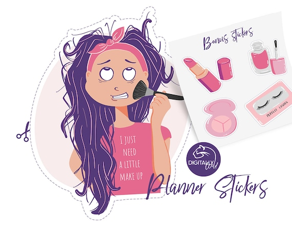Make Up Planner Stickers Bad Hair Day Printable Digital Etsy