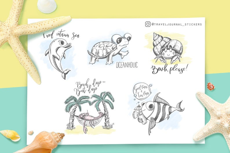 picture about Printable Sea Creatures identified as Sea creatures Humorous stickers Printable Sea pets Seashore themed stickers with estimates Magazine stickers Generate sbook Sea concept