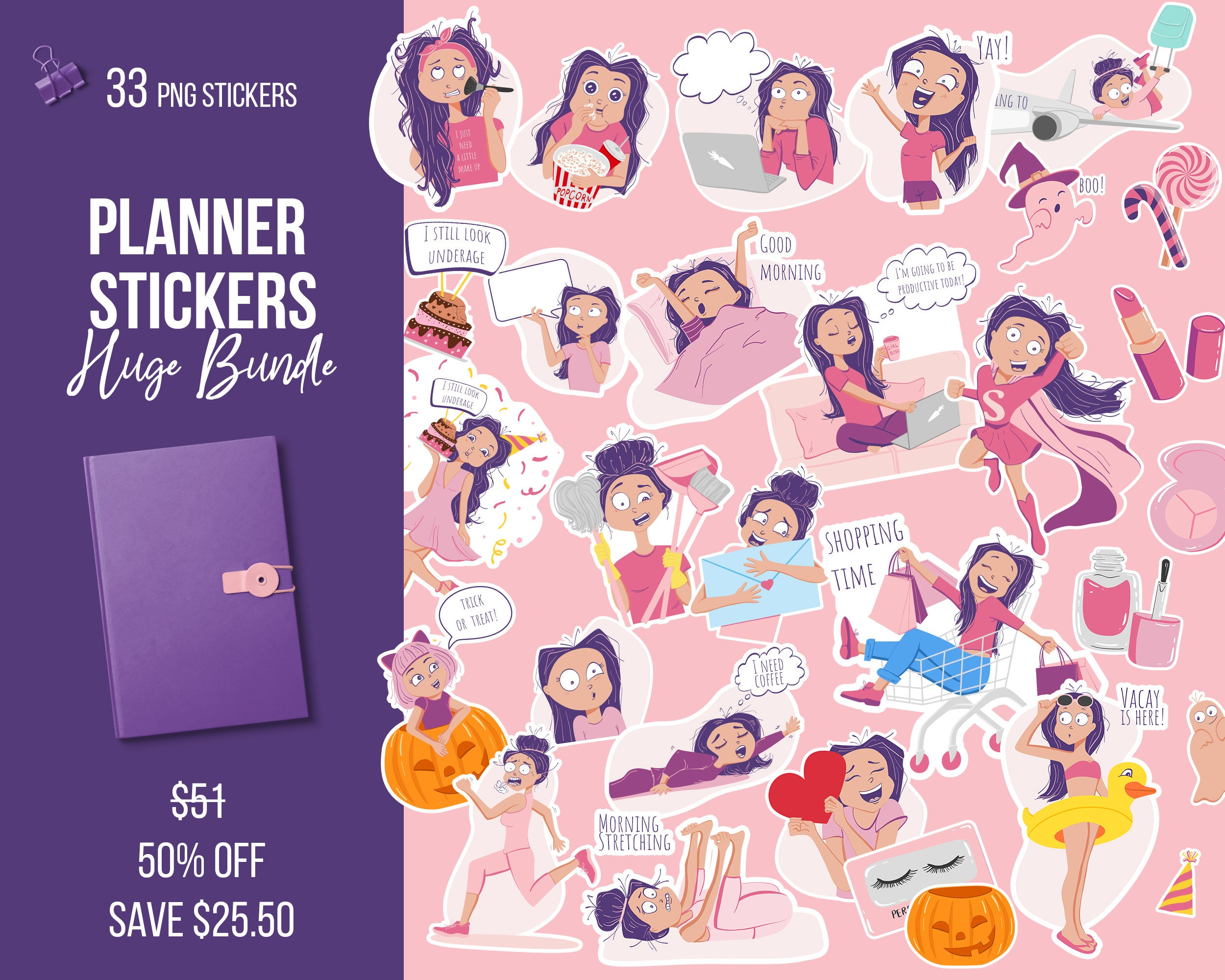 photograph about Cute Printable Stickers named Planner stickers pack Lovely printable stickers Girly clipart Day-to-day attractive stickers for Lifetime planner Electronic planner Erin Condren Kawaii