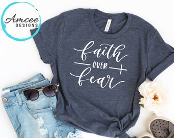 caa51b26 Faith Over Fear Cross Tee / Inspirational Christian T-shirt / Motivational  Sayings Fitness Gym / Positive Gifts / Trendy Unisex Tees XS-2XL