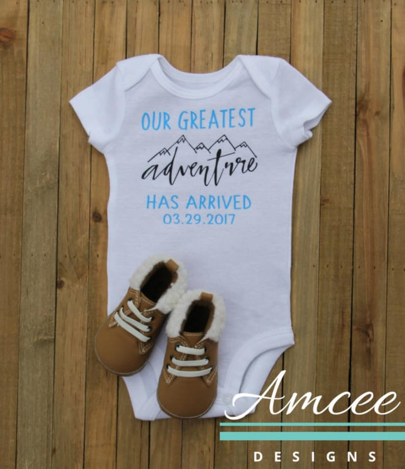Infant Boy Girl Baby Arrival Announcement Custom Date Birth Announcement Our Greatest Adventure Has Arrived Personalized bodysuit