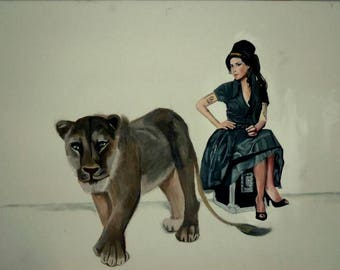Amy Winehouse-Lioness: Hidden Treasures - Handmade Oil Painting