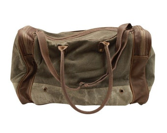 df40416c33e Canvas Duffle Bag with leather accents