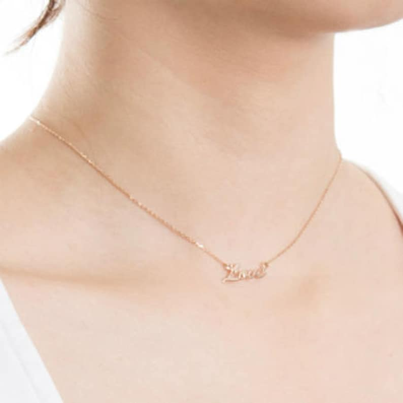 Xmas Gift Love Rose Gold Necklace Custom Made Love Necklace in Rose Gold Christmas Gift