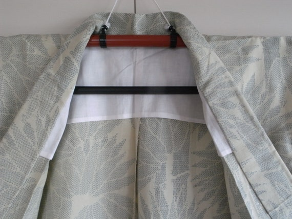 Vintage silk pongee kimono with bamboo motif, min… - image 8