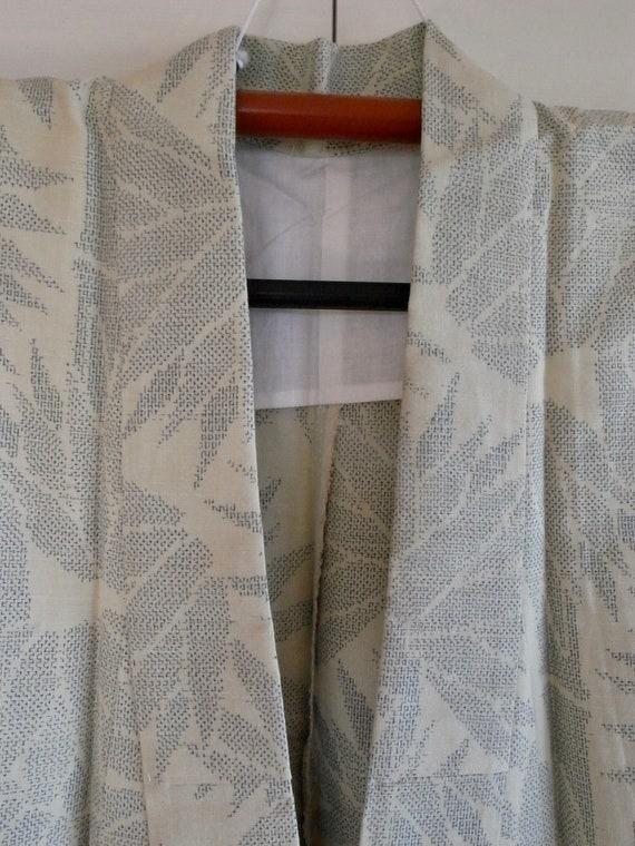Vintage silk pongee kimono with bamboo motif, min… - image 5