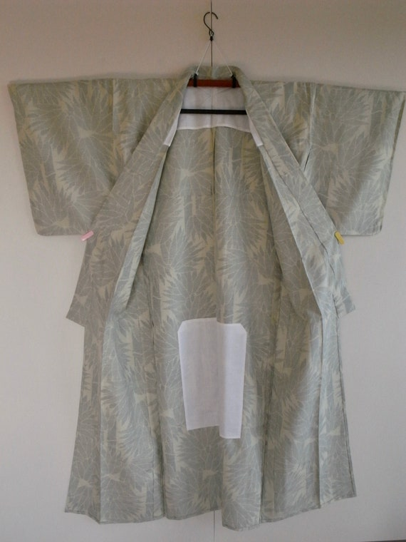 Vintage silk pongee kimono with bamboo motif, min… - image 3