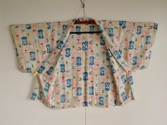 Beautiful kimono silk jacket with colourful floral pattern  made from vintage silk kimono  Kimono cardigan  Haori  colurful silk jacket