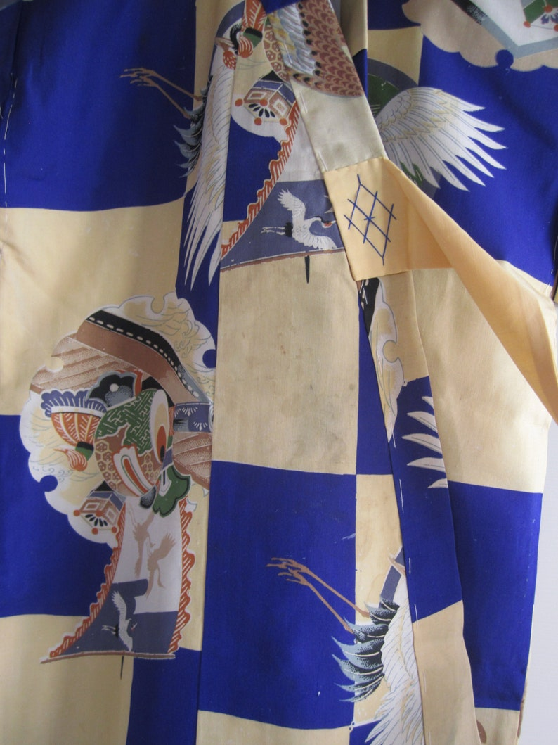cranes and lucky boat motif Antique boy/'s kimono in mousseline silk Made in Japan for kitsuke or remake Japanese textile