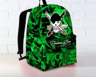 Zoro Back to School Bag, One Piece Backpack, Anime Backpack, Custom Backpack, One Piece Back to School, Canvas Backpack, Luffy Backpack
