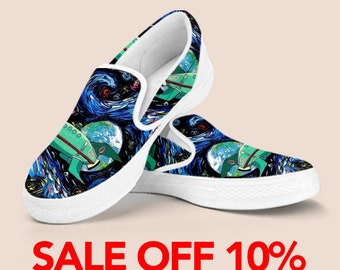 Space Custom Slip On, Outer Space Custom Shoes, Space Galaxy Vans Shoes, Geek Gift Slip on Shoes, Planets Space Art Slip On Astronomy