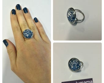 Navy Blue Bohemian nature ring adjustable