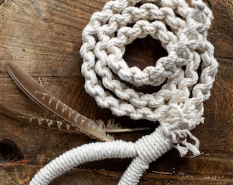 White Macrame Dog Leash