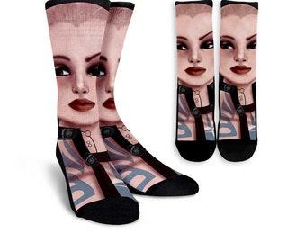 Mass Effect, Mass Effect sock, Mass Effect Custom sock, Printed sock 1pc