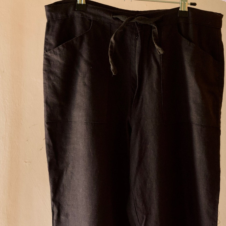 black linen summer pants High waisted ankle length with tie and pockets