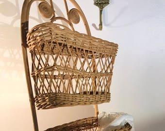 Hanging Tiered Wicker Rattan Wall Basket