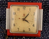 1950s Telechron Red Wall Clock 2h43 Telemaid