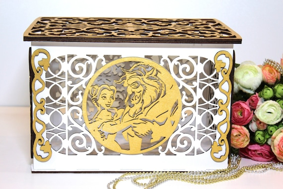 Wedding Card Box Disney Beauty And The Beast With Lock Slot Money Holder Envelope Decor
