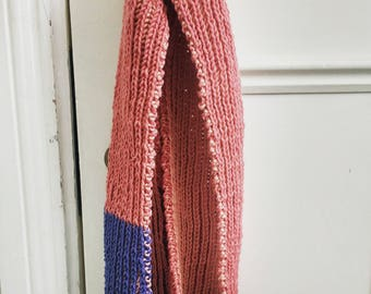Hand Knitted Scarf for Baby Girl 12 - 18 months in Pink, Peach and Blue