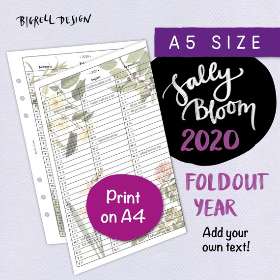 PRINTED 2020 yearly monthly Insert personal Size Ringbound Organiser Filofax