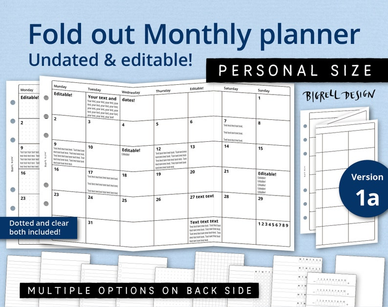 Fold out Monthly planner. Undated editable six week spread. image 0