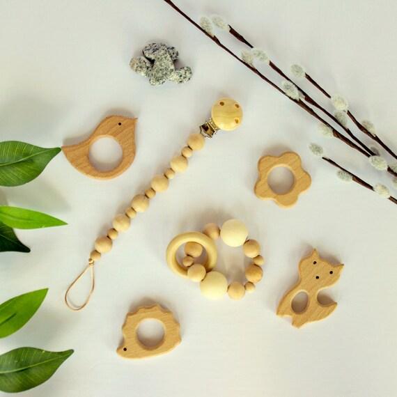 Hochet anneau bois en silicone pour les poussées dentaires de bébé, anneau de dentition en Silicone, Hochet en bois cadeau, cadeau de shower de bébé, bébé Waldorf, Hochet en bois