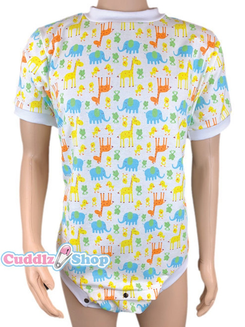 Cuddlz Short Safari Pattern Brushed Cotton Wincyette Adult Onesie Crotch Fastening With Poppers Body Suit Romper For Men Women ABDL