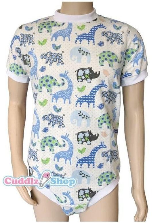 Cuddlz Blue Colourful Safari Wincyette Adult Onesie last  4916e4800