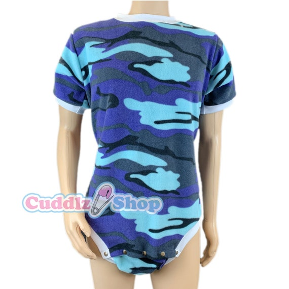 CUDDLZ Short Green Camouflage Pattern Fleece Adult Onesie Baby Grow Romper ABDL Body Suit Unisex Ladies or Mens