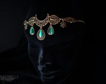 fairy wedding headpiece forhead jewelry tiara shooting festival renaissance silver celtic pagan wicca medieval dark green