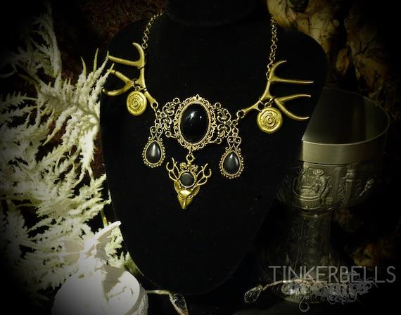 necklace pagan celtic wicca wiccan medieval bronze black gift Cernunnos  hornded god gift set antlers