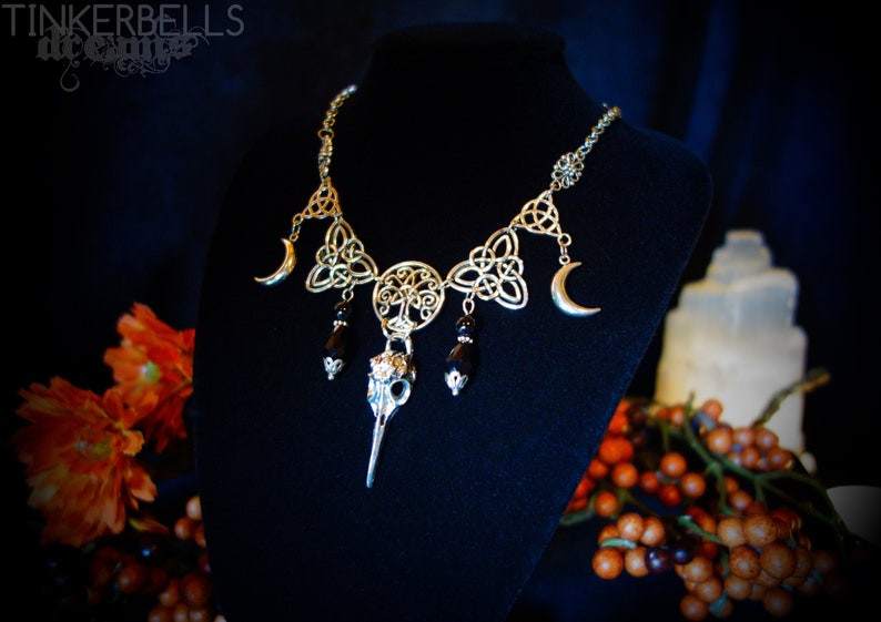 necklace wicca pagan gothic celtic wicca wiccanjewelry antique silver black  bird skull celtic knot moon crescent tree oflife
