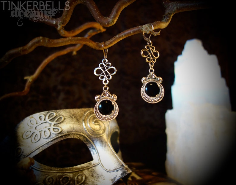 earrings gothic pagan celtic wicca wiccan gothicjewelry medieval silver  black gift celtic knot victorian vintage