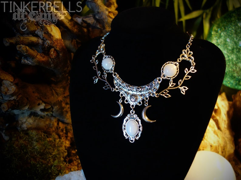 necklace wicca pagan gothic celtic wicca wiccanjewelry antique silver white  jade gift box crescent luna moon