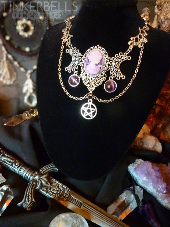 necklace wicca pagan medieval gothic wiccan victorian celtic antique silver Amethyst purple pentagram pendulum crescent luna moon