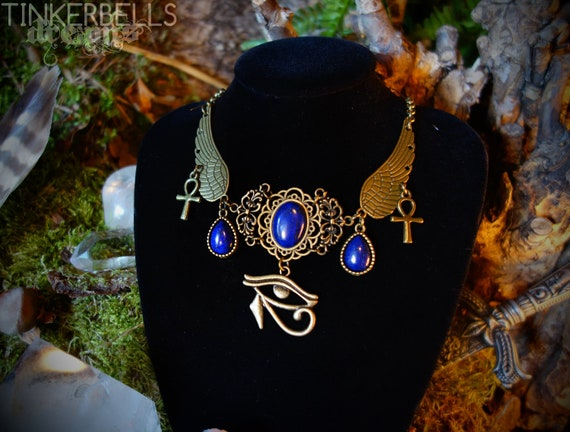 necklace eye of horus wadjet egyptian lapis lazuli ankh blue feather pagan  wiccan wicca bronze immortality