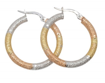 CARTIER TYPE GOLD 14K Earrings  Rings with Three Gold Colors