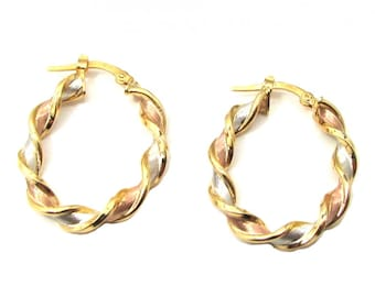 CARTIER  TYPE GOLD 14K Hoop  Earrings with Three Gold Colors