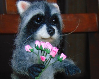 Raccoon with a bouquet of roses