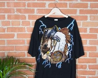 American Thunder Chief & Wolf T-Shirt