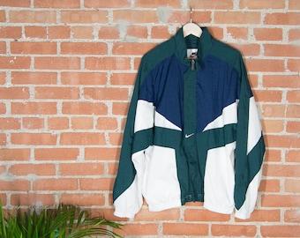90's Nike Windbreaker - Navy/Wht/Green