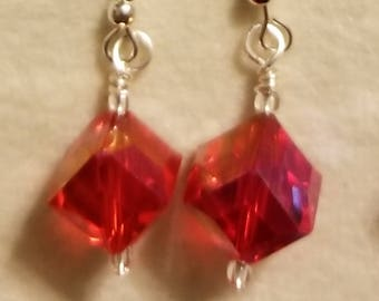 SALE. Earrings, silver, gold and clip-on available, Elegant, Red Crystal Cube, gift, wedding or special occasion. Handmade Jewelry.