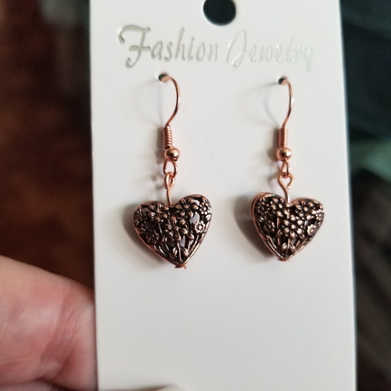 1 12 inches long Handmade Jewelry Great Gift for Her or Yourself Rose Gold Heart Earrings