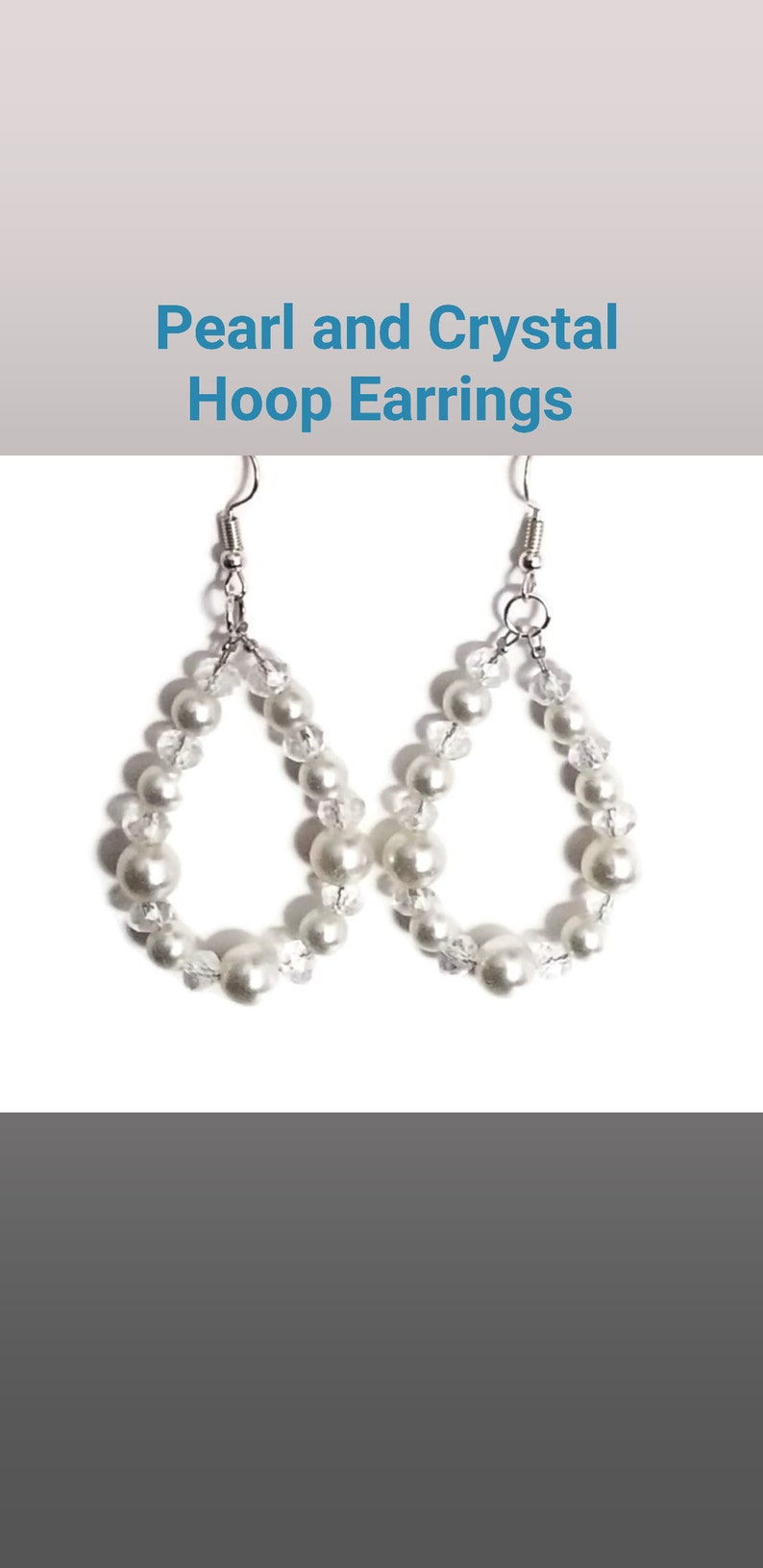 Pearl and Crystal Hoop Earrings Clipon Available Gift for Her Silver Handmade Jewelry