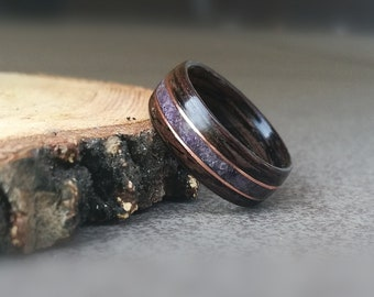 Amethyst wood wedding bentwood ring with copper, Men simple wood ring, Minimalism women wood ring, Inlay birthstone ring